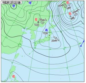 12月12日(月)15時の実況天気図