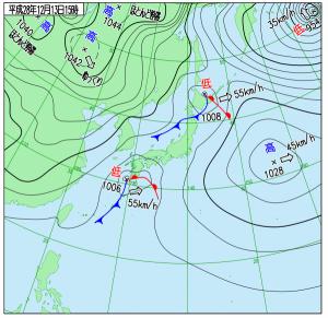 12月13日(火)15時の実況天気図