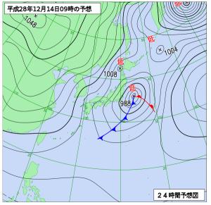 12月14日(水)9時の予想天気図
