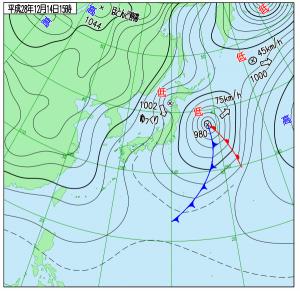 12月14日(水)15時の実況天気図