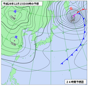 12月15日(木)9時の予想天気図