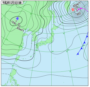 12月15日(木)15時の実況天気図
