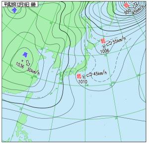 12月16日(金)6時の実況天気図