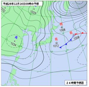 12月16日(金)9時の予想天気図