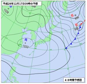 12月17日(土)9時の予想天気図