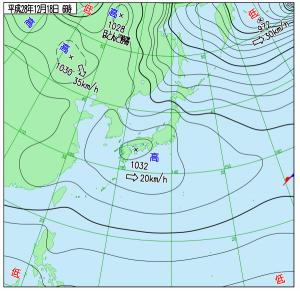 12月18日(日)6時の実況天気図