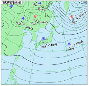 12月19日(月)6時の実況天気図