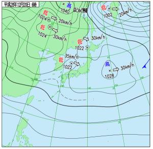 12月20日(火)6時の実況天気図