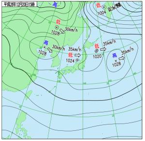 12月20日(火)15時の実況天気図