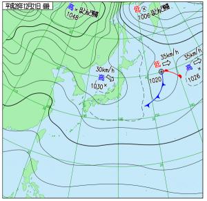 12月21日(水)6時の実況天気図