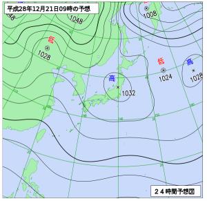 12月21日(水)9時の予想天気図