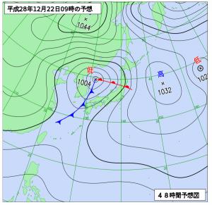 12月22日(木)9時の予想天気図