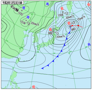 12月23日(金祝)15時の実況天気図