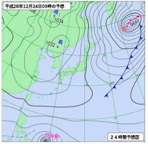 12月24日(土)9時の予想天気図