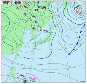 12月24日(土)15時の実況天気図
