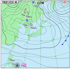 12月25日(日)6時の実況天気図