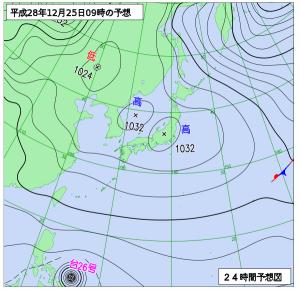 12月25日(日)9時の予想天気図