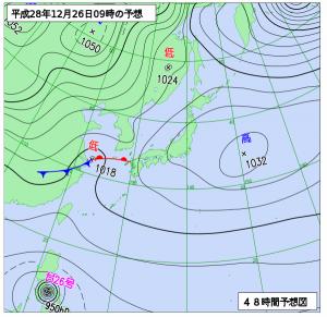 12月26日(月)9時の予想天気図