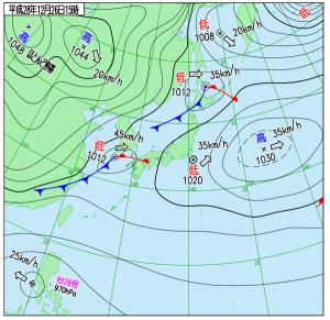 12月26日(月)15時の実況天気図