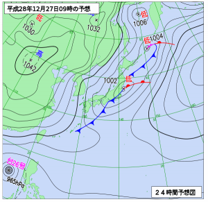 12月27日(火)9時の予想天気図
