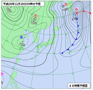 12月28日(水)9時の予想天気図