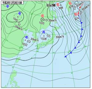 12月28日(水)15時の実況天気図