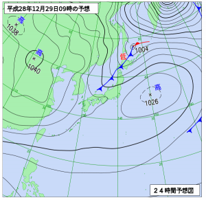 12月29日(木)9時の予想天気図