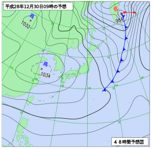 12月30日(金)9時の予想天気図