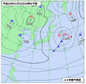 1月3日(火)9時の予想天気図