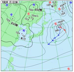 1月3日(火)15時の実況天気図
