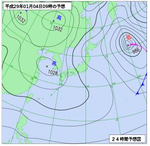1月4日(水)9時の予想天気図
