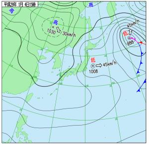 1月4日(水)15時の実況天気図