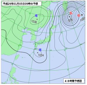1月5日(木)9時の予想天気図