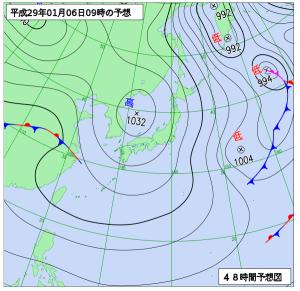 1月6日(金)9時の予想天気図