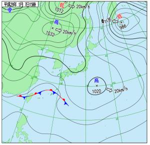 1月7日(土)15時の実況天気図