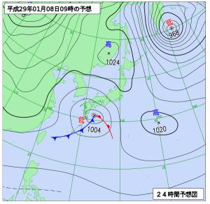 1月8日(日)9時の予想天気図