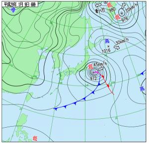 1月9日(月祝)6時の実況天気図