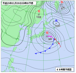1月9日(月祝)9時の予想天気図