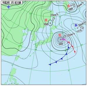 1月9日(月祝)15時の実況天気図