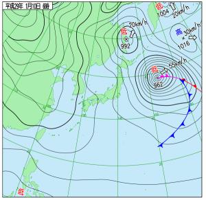 1月10日(火)6時の実況天気図