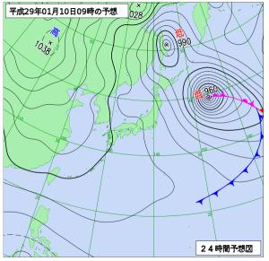 1月10日(火)9時の予想天気図