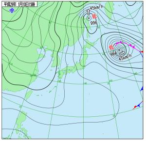 1月10日(火)15時の実況天気図