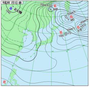 1月11日(水)6時の実況天気図