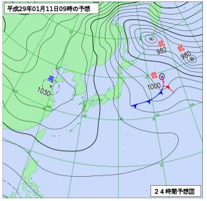 1月11日(水)9時の予想天気図