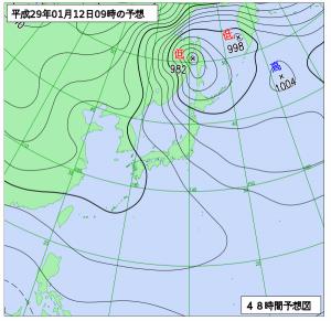 1月12日(木)9時の予想天気図