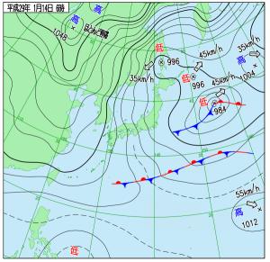 1月14日(土)6時の実況天気図
