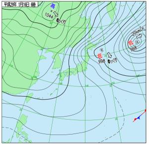 1月16日(月)6時の実況天気図