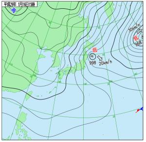 1月16日(月)15時の実況天気図