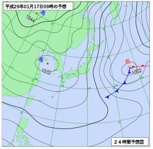 1月17日(火)9時の予想天気図