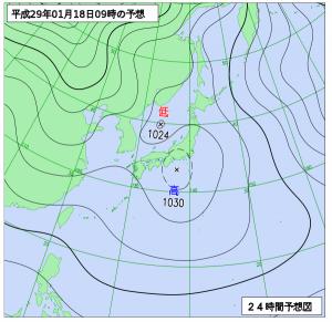 1月18日(水)9時の予想天気図